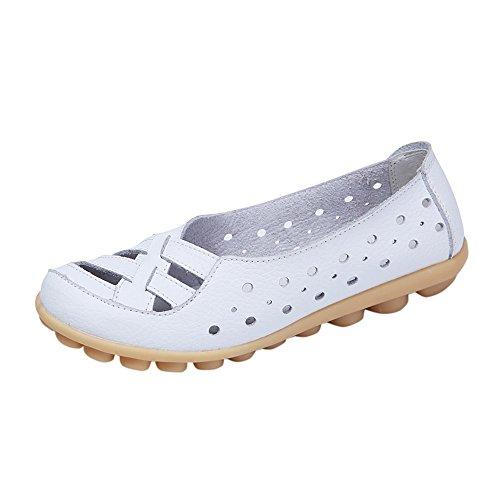 ☀NnuoeN☀ Mocassini Donna in Pelle Moda comode Loafers Scarpe da Guida Piatto Scarpe Cavo Tacco Basso Sandali Slip On Mocassini