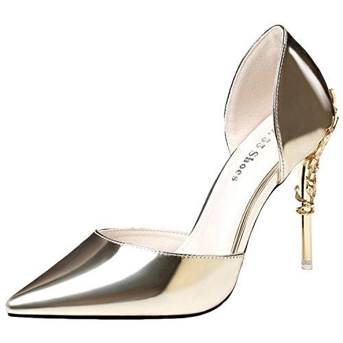 Oasap Women's Pointed Toe Low Cut Stiletto Club Pumps Golden