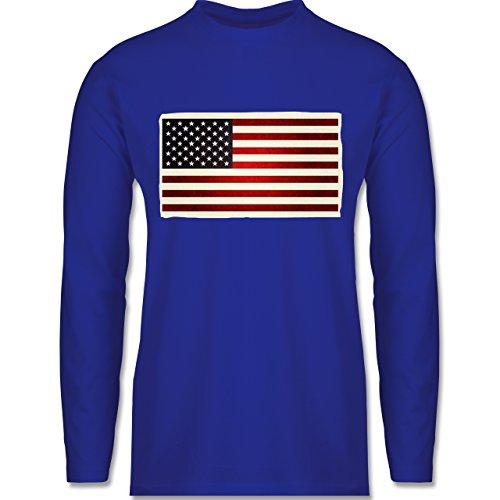 Shirtracer Kontinente - Flagge USA - Herren Langarmshirt Royalblau