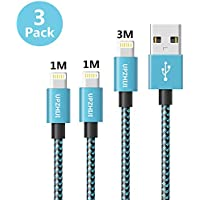 UPZHIJI GEEE554 Fast Sync phone Charger Cable USB Nylon Braided Cord 3Pack ( 1M/3FT-2Pack ,3M/9FT-1Pack , Blue)
