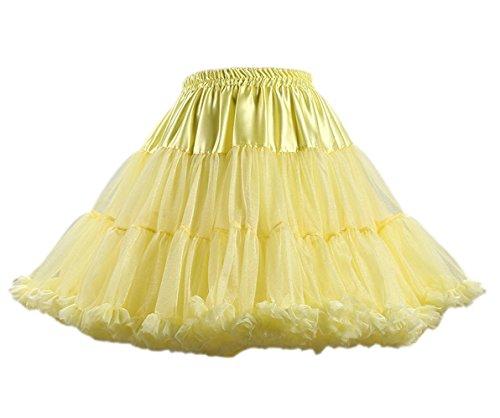 Honeystore Damen Mädchen Kinder Tanzen Ballett Tutu Rock Ballett Pettiskirt Prinzessin Tanz Röckchen Tutu Kostüme Gelb One Size (Schnelle Und Einfache Last Minute Kostüme)
