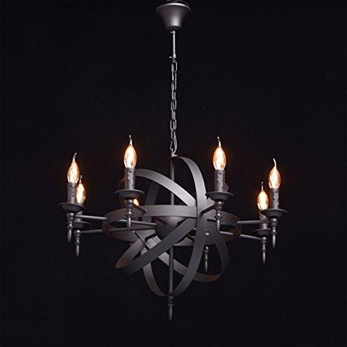 Rustikale Pendelleuchte mittelalterlicher Kronleuchter mit Kerzen 8-flammig Landhausstil - 2