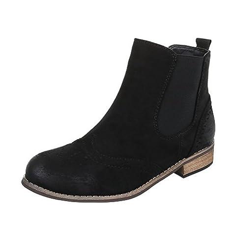 Chelsea Boots Damen-Schuhe Chelsea Boots Blockabsatz Blockabsatz Ital-Design Stiefeletten Schwarz, Gr 40, Zy9053-12-