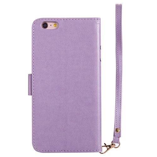Qiaogle Telefon Case - PU Leder Wallet Schutzhülle Case für Apple iPhone 6 / iPhone 6S (4.7 Zoll) - KT30 Grün / Mädchen + Vogel + Katze KT28 Lavender / Mädchen + Vogel + Katze