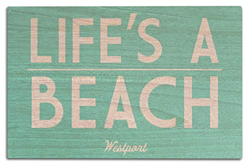 Washington-antik-karte (Lantern Press Westport, Washington, Life's A Beach - Simply Said, Holz, Multi, 10 x 15 Wood Sign)