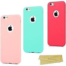3x Funda iPhone 6 Plus, Carcasa Silicona Gel iPhone 6s Plus - Mavis's Diary Mate Case Ultra Delgado TPU Goma Flexible Cover Protectora para iPhone 6 Plus/iPhone 6s Plus 5.5 Pulgada Color Rosa+Verde menta+Roja