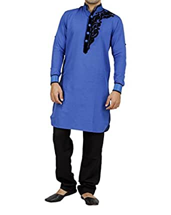 Art Designer Wear Blue Linen Pathani Suit For Men-XX-Large