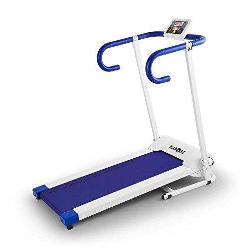 Klarfit Pacemaker X1 Laufband • Heimtrainer • Hometrainer • 500 Watt Leistung • Geschwindigkeit: 1 - 10 km/h • Trainingscomputer • LCD-Display • Magnetchip Entsperrung • Lauffläche 34 x 100 cm • max. 120 kg • zusammenklappbar • weiß-blau