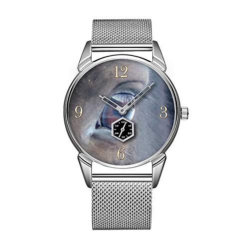 Bay-muster (Mode wasserdicht Uhr minimalistischen Persönlichkeit Muster Uhr -062. Bay Horse es Eye Farm Pferde Tier-Liebhaber Foto)