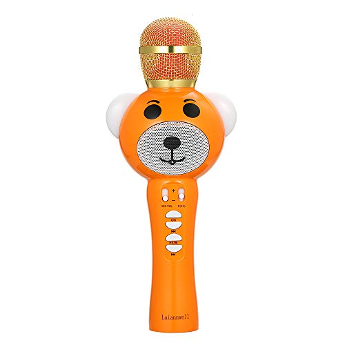 Festnight Laiannwell Q30 Wireless BT Karaoke-mikrofon USB Home KTV Player Mic Lautsprecher Record Musik Mikrofon für Singen Aufnahme Interview Podcast Handheld (Orange)