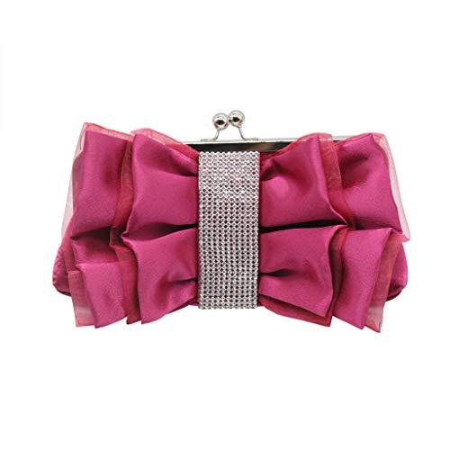 XZDCDJ UmhängeTaschen Damen Mode Frauen Bogen Blume Umhängetasche Braut Brautjungfer Tasche Abendtasche Pink -