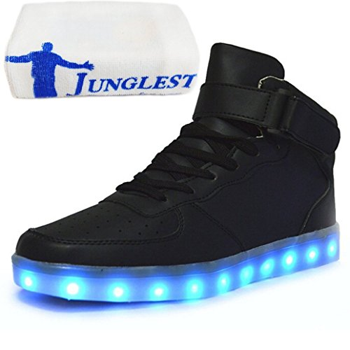(Présents:petite serviette)JUNGLEST® Chaussures Lumineuse 7 Couleurs LED Rechargeable USB Baskets Sneak Noir