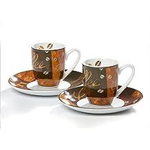 Flirt by R/&B 548136 Havanna Espressotassen im Geschenkkarton 4-tei braun//beige