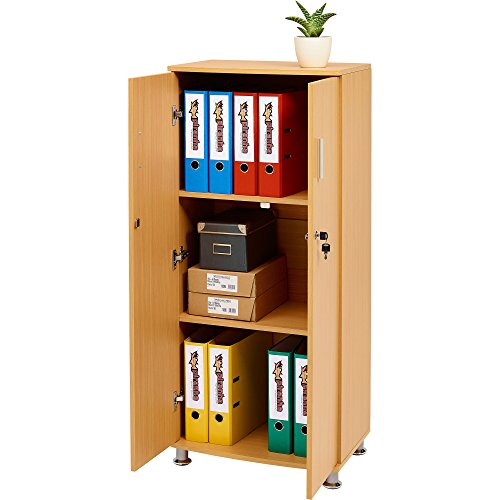 Tall Cupboard with 3 shelves Storage Filing Cabinet Matching Range of Home Office in Beech – Piranha Furniture Bonito PC 6b