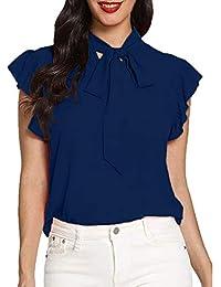 dba0bd0147c98 Innerternet Femme Chemise Nœud Papillon Haut Chic T Shirt Tunique Longue  Casual éLéGant Mode Haut Blouse Chemisier Classique Top…