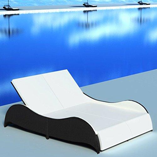 Festnight- Chaise Longue Double Bains de Soleil 200 x 132 x 45 cm