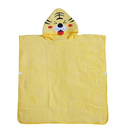Softest Quick Dry Hooded Kinder Baumwolle Cartoon Bademäntel Umhang Strand Spa Coole Warme Handtücher (Tiger, S)