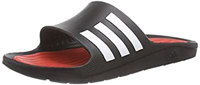 adidas Men's Duramo Comfort M Core Black, Vivid Red and White Rubber Flip-Flops and House Slippers - 5 UK