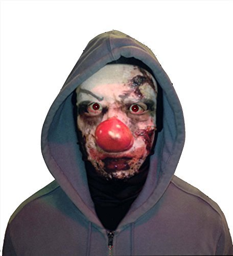 n Face Novelty Fun Stoff Face Maske Design Snood Gesichtsmaske hergestellt in Yorkshire (Scary Halloween Clown)