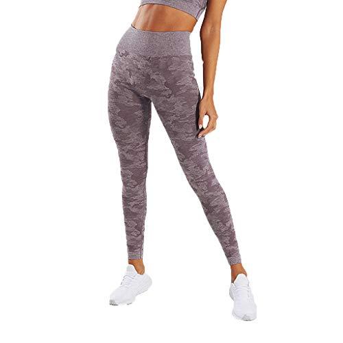 MINXINWY Mallas Running Mujer, Malla de Mujer Corrugada Pantalones Fitness de Mujer Leggins Ajustados de Secado Rápido Pantalones Sin Costura Estampado de Camuflaje
