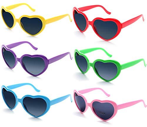 Fsmiling 6 Stück Neon Farbige Herz Party Sonnenbrille für Kinder Mädchen Damen Festival( Neon Brille )