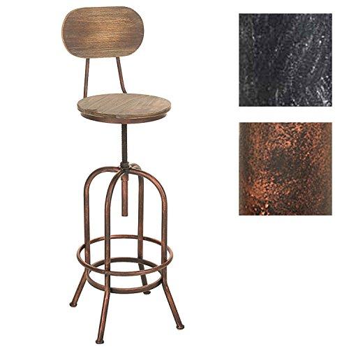 CLP Taburete Pino con asiento de madera y soporte metálico. La altura del asiento es regulable: 68-88 cm. Diseño industrial y sencillo. bronce