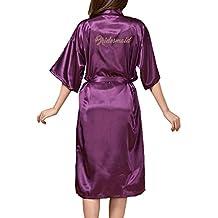 Yying Kimono Bata Novia Dama Honor Largos Camisones Boda Maquillaje Mañana Mantas Satén Camisón Boda Dama