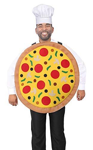 ILOVEFANCYDRESS Pizza MIT Allen AUFLAGEN KOSTÜM VERKLEIDUNGEN und WEIßE Koch MÜTZE = Pizza- 67cm Durchmesser = Unisex = Fasching Karneval = Jungesellenabschied Party