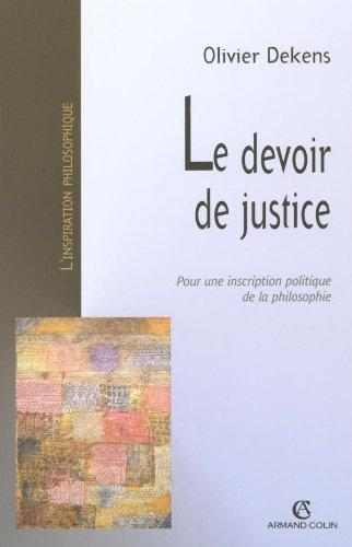 Le devoir de justice pour une inscription politique de la philosophie