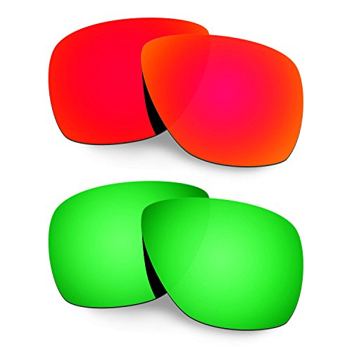 HKUCO Mens Replacement Lenses For Oakley Breadbox Red/Emerald Green Sunglasses