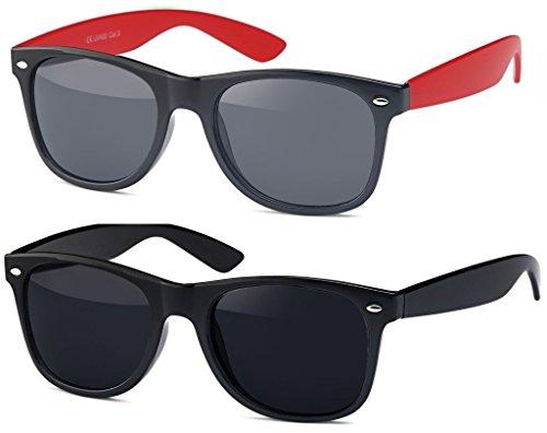 Hatstar Vintage Sonnenbrille Retro Nerd Wayfarer Brille Unisex für Damen und Herren (Doppelpack | Schwarz - Smoke + Schwarz Matt - Orange verspiegelt)