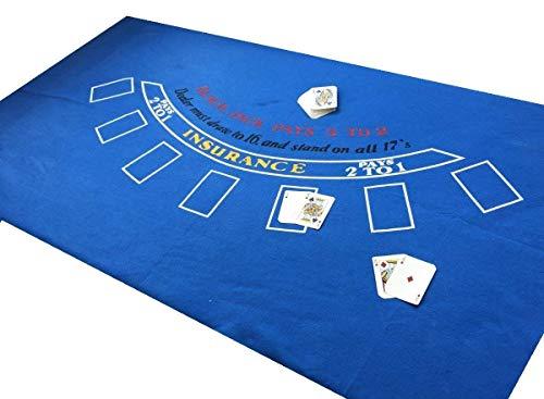 Grande authentique * bleu * las vegas neuf 1,8m par 0,9m black jack en feutre plus jeu de cartes