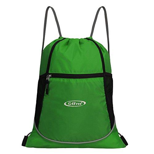 G4FREE Kordelzug Turnbeutel Sportbeutel Rucksack Gymsack für Erwachsene und Kinder, Schwimmen Tasche Kinder Schule PE-Tüte, grün