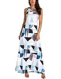 eca848e79cf Geometric Printing Bohemian Dress DIKEWANG Chic Ladies Summer Casual  Splicing Colour Sleeveless Party Long Dress