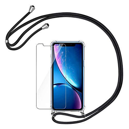 AROYI Handykette Handyhülle + Panzerglas Schutzfolie für iPhone XR Hülle mit Kordel zum Umhängen Necklace Hülle mit Band Schutzhülle Transparent Silikon Acryl Case für iPhone XR -Schwarz