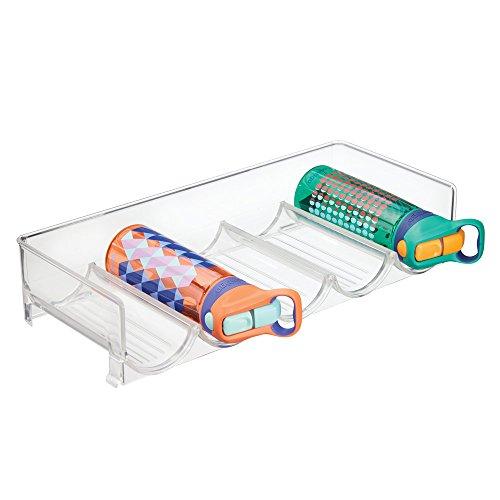 mDesign casier à bouteilles pour réfrigérateur ? range bouteilles empilable pour 5 bouteilles ? rangement pour bouteille de vin et autres boissons ? transparent