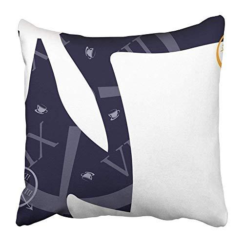 Carmen A Print White Wonderland Alice Hatter Mad Rabbit Party Clock Tea Polyester 18 X 18 inch Square Hidden Zipper Decorative Pillowcase ()