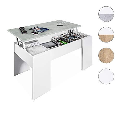 Habitdesign 0L1640A- Mesa de Centro elevable, mesita de Comedor, Medidas 100 x 43 x 50 cm de Fondo (Blanco Artik y Gris Cemento)