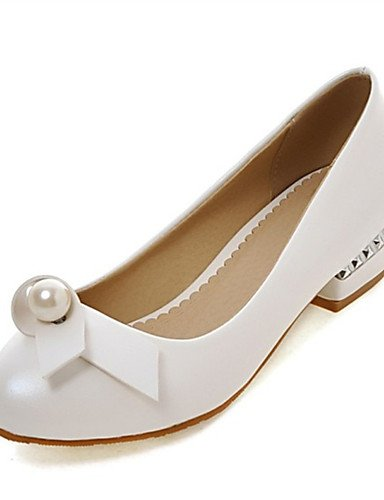 WSS 2016 Chaussures Femme-Mariage / Habillé / Décontracté / Soirée & Evénement-Noir / Rose / Blanc-Talon Bas-Talons-Chaussures à Talons-Similicuir black-us5 / eu35 / uk3 / cn34