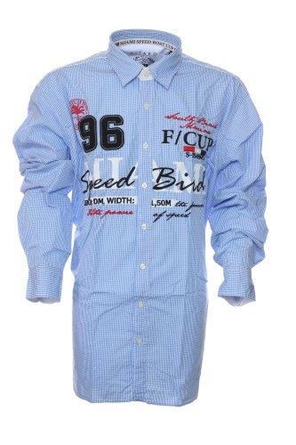 Exklusives Hemd von Kitaro --- Miami Speed Boad Cup --- Extra Lang (Tall) Blau