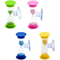 Lantelme 6831 Zahnputz Sanduhr 3 Minuten Set 4 Stück - Sanduhren mit Sauger - Für Sie und Ihre Kinder - Familienset in den Farben pink, gelb, grün und blau