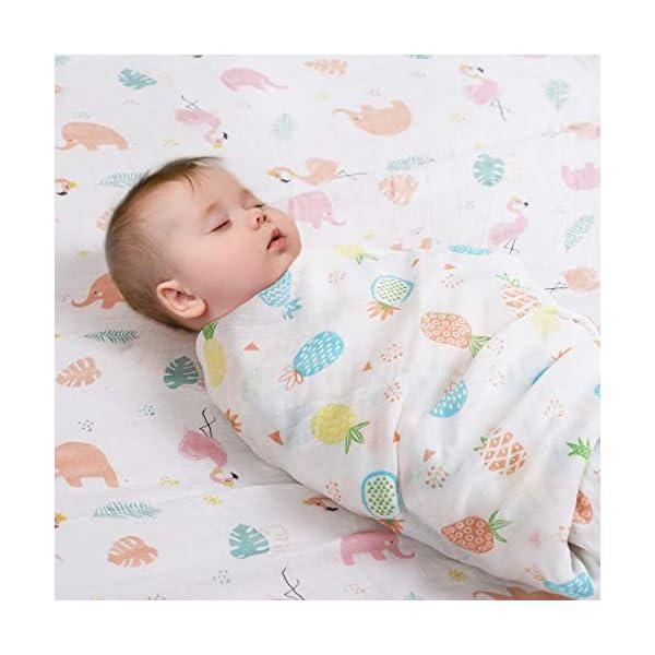 Viviland Mantas Envolventes de Muselina de Bambú Algodón,Swaddle Paquete de 4, Mantitas para Bebes Recién Nacidos,120×120 cm
