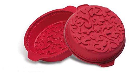 Silicone Bakeware, stampo in silicone, stampo rotondo grande da 26x 26x 8cm, con design con motivo a spirale, colore: rosso/marrone