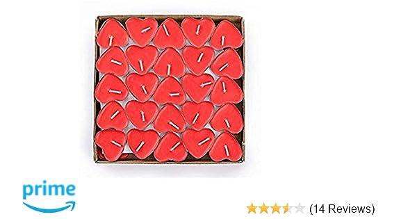 The Twiddlers Rote Packung Von 50 Herzförmige Kerzen Rauchfreie Teelichter,