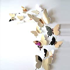 Idea Regalo - ufengke 12 Pezzi 3D Farfalle Adesivi Murali Fashion Design DIY Farfalla Arte Adesivi da Parete Artigianato Decorazione Domestica, Effetto Specchio