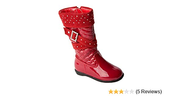 GIRLS RED PATENT QUILTED DIAMANTE BUCKLE KNEE HIGH ZIP WINTER BOOTS UK SIZE 5-12