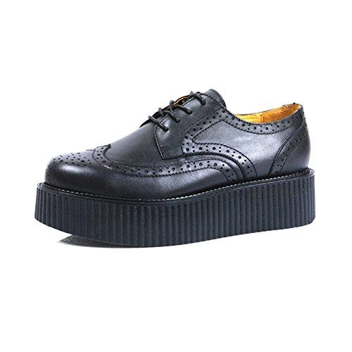 RoseG Herren Leder Brogue Platform Schnürhalbschuhe Gote Punk Creepers Schuhe 43