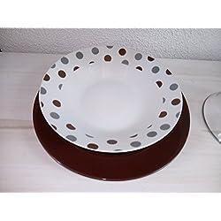 DRW Vajilla de Porcelana de 19 Piezas, Tonos marrón, 6 Servicios+Fuente