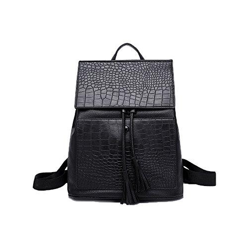 BROWL® Stylisch Netter schwarzer lederner Rucksack (Imitat Alligatorleder) kleine Laptoprucksack für Notebooks bis 11 Zoll/Kamera/Ipad.