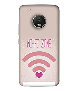 FUSON Designer Back Case Cover for Motorola Moto G5 Plus (Love Wifi Zone Connect With Lovers Couples Hearts)